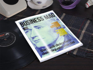 simple magazine cover one on table