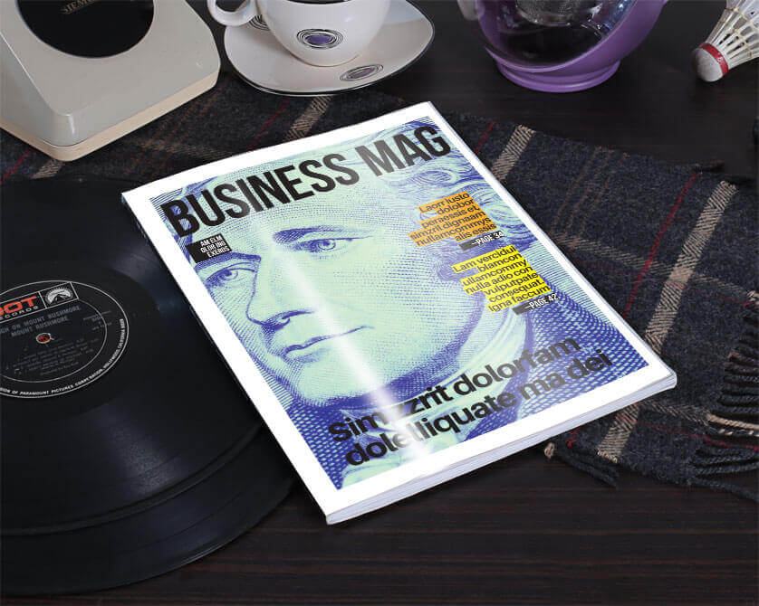 see template free simple magazine cover one on table