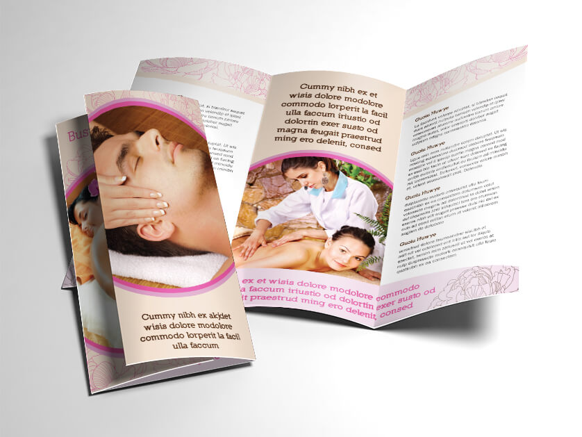 Fancy spa and massage brochure for Fancy brochure templates